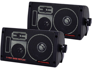 NEW  PAIR PYRAMID 2060 300W BASS REFLEX BOX SPEAKERS WITH BRACKETS 300 WATT