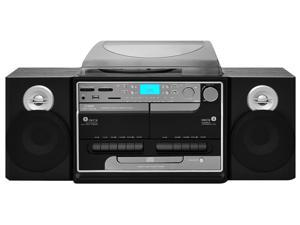 Turntable Boombox Multimedia System - Plays AM/FM Radio, CDs, Cassettes, MP3s, USB/SD Memory Ports & Vinyl-to-MP3 Encoding