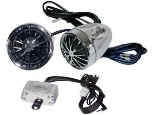 Motorcycle Mount Amplified 200-Watt x 2 Stereo Sound System with Dual Handlebar Mount Speakers per