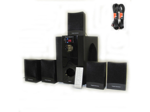 Theater Solutions 5.1 Multimedia Powered Home Surround Sound System with Bluetooth Two 25' Ext Cables TS511B-2