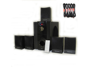 Theater Solutions 5.1 Powered Home Theater Surround Sound Speaker System with Five 25' Extension Cables TS511-5