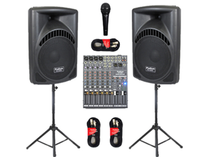 "Podium Pro Pair New DJ 15"" MP3 Powered Active 1800 Watt Speakers, Mixer, Stands, Cables and Mic PP1504CASET"