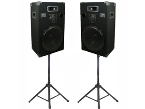 "Podium Pro Studio Speakers 15"" Three Way Pro Audio Monitor Pair and Stands Set for PA DJ Home or Karaoke 1500CSET1"