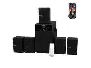 Theater Solutions TS509 Home Theater 5.1 Speaker Surround System with Bluetooth and 2 Extension Cables TS509B-2