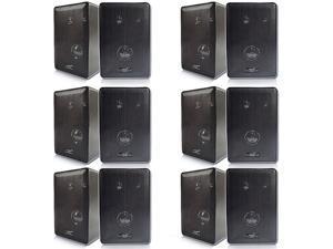 Acoustic Audio 251B Indoor Outdoor 3 Way Speakers 2400 Watt Black 6 Pair Pack New 251B-6Pr