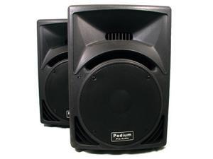 "Podium Pro PP1510 PA DJ Karaoke Band Black Pro Audio 15"" Two Way ABS Plastic Speaker Pair"