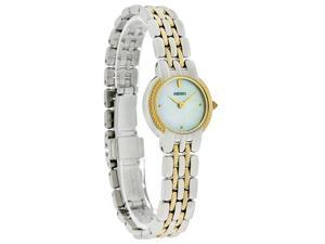 Seiko Quartz Ladies 20Mm Mop Dial Two Tone Stainless Steel Bracelet Watch SUJB30