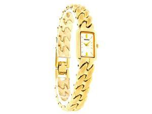 Seiko Quartz Ladies Mop Satin Gold Tone Mariner Link Bracelet Dress Watch SYL784