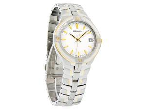 Seiko Quartz Mens White Dial Date Two Tone Stainless Steel Watch SGE510 New
