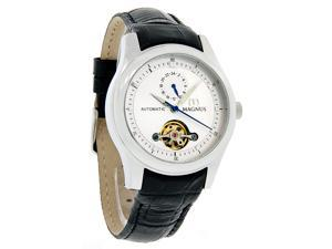 Magnus Santiago Mens Silver Stainless Steel Black Leather Band Watch M107MSB34