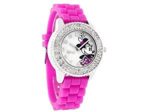 Disney Minnie Mouse Ladies Crystal Pink Fuschia Rubber Band Watch MN1056