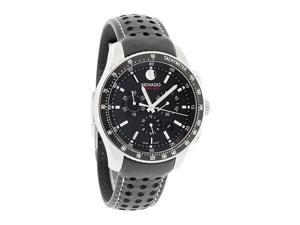 Movado 800 Series Mens Black Leather Band Swiss Quartz Chronograph Watch 2600096