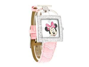 Disney Minnie Mouse Ladies Crystal Bezel Pink Leather Strap Quartz Watch MIN107
