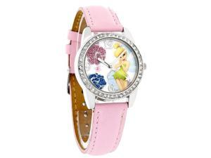Disney Tinker Bell Ladies Crystal Flower Pink Leather Quartz Watch TNK459
