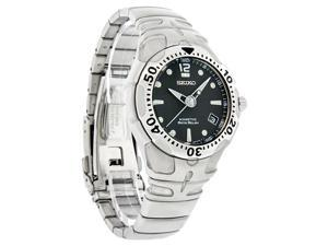 Seiko Kinetic Auto Relay Mens Black Dial Stainless Steel Watch SMA003