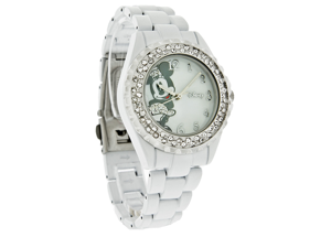 Disney Minnie Mouse Ladies Crystal Bezel White Bracelet Quartz Watch MN2037