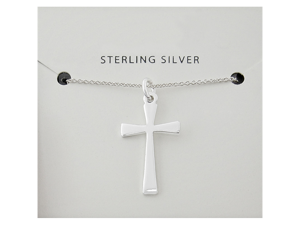 Ladies Sterling Silver 925 Simple Flat Cross Pendant & Chain Necklace