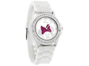 Disney Minnie Mouse Ladies Ice Crystal Pink Rubber Band Watch MN1058