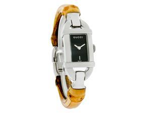 Gucci 6800 Petite Ladies Black Dial Brown Bamboo Bangle Bracelet Watch YA068515
