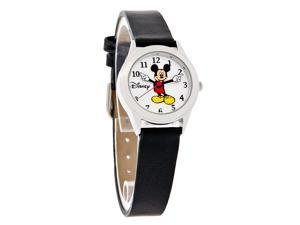 Disney Mickey Mouse Ladies Moving Hands Black Leather Band Watch MCK344