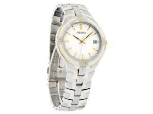 Seiko Quartz Mens White Dial Two Tone Stainless Steel Watch SGE510 New