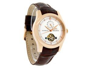 Magnus Santiago Mens Rose Gold Tone Brown Leather Band Automatic Watch M107mrr34