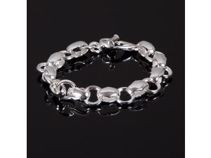 "Ladies Sterling Silver 925 Polished Bold Rolo Case Link Toggle Bracelet 8"" New"