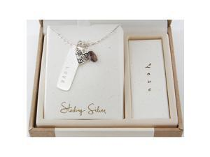Ladies Sterling Silver 925 Briolette Garnet Charm Love Dog Tag Pendant Necklace