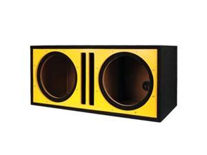 Absolute PDEB10Y Dual 10-Inch, 3/4-Inch MDF Twin Port Subwoofer Enclosure with Yellow High Gloss Face Board
