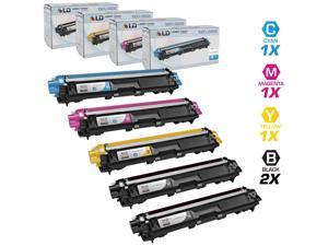 LD Brother Compatible TN221 & TN225 Bulk Set of 5 laser toner Cartridges:  2 of Black & 1 Cyan / Magenta / Yellow for use ...