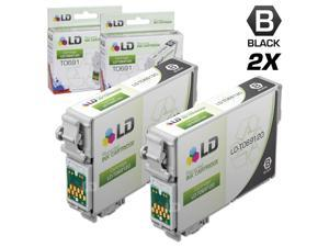 LD © Remanufactured Replacement for Epson T0691 Set of 2 Black Ink Cartridges Includes: 2 T069120 Black Inkjet Cartridges