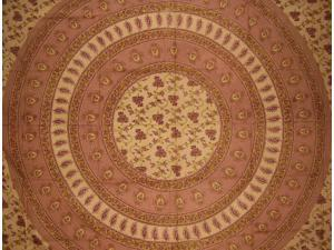 Floral Vine Tapestry Table Spread Coverlet Cotton Brown