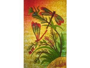 Authentic Cotton Batik Textile Art Dragonfly Love #2 18 x 28