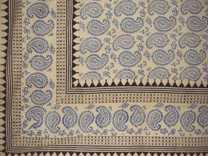 Block Print Paisley Bedspread Coverlet Blue Twin