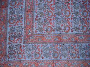 Block Print Floral Indian Tapestry Bedspread F/Q Blue
