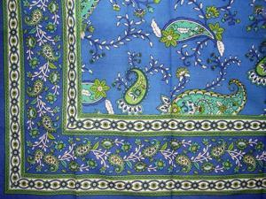 "Paisley Print Tablecloth  Many Uses in Home Decor Blue 88"" x 60"""