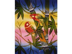 Authentic Cotton Batik Textile Art Parrot Pals- 28 x 36