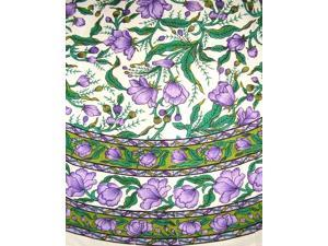 French Floral Tablecoth 66 Inch Round Cotton Emerald & Purple