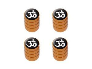 Om Aum Yoga Namaste White on Black - Tire Valve Stem Caps - Orange