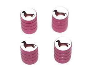 Dachshund - Dog Tire Rim Valve Stem Caps - Pink