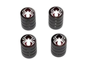 Spider White - Spiderman - Tire Rim Valve Stem Caps - Black