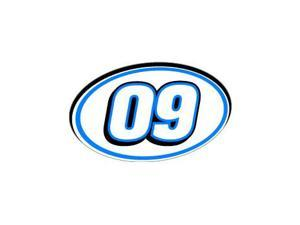 "09 Number Racing - Blue Black Sticker - 5.5"" (width) X 3.5"" (height)"