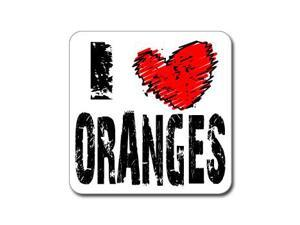 "I Love Heart ORANGES Sticker - 5"" (width) X 5"" (height)"