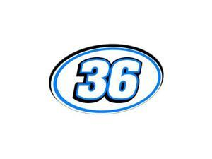 "36 Number Racing - Blue Black Sticker - 5.5"" (width) X 3.5"" (height)"