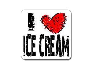 "I Love Heart ICE CREAM Sticker - 5"" (width) X 5"" (height)"