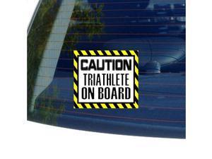 """Caution Triathlete on Board Sticker - 5"""" (width) X 4.5"""" (height)"""