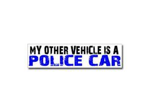 "Other Vehicle is Police Car Sticker - 8"" (width) X 2"" (height)"