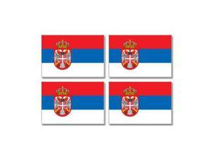 "Serbia Country Flag - Sheet of 4 Stickers - 3"" (width) each"