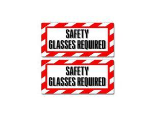 "Safety Glasses Required Sign Stickers - 5"" (width) X 2.3"" (height) each"
