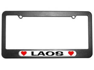 Laos Love with Hearts License Plate Tag Frame